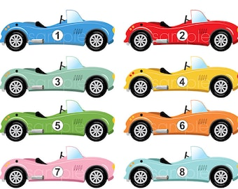 Digital Clipart - Race Cars Clip art for Scrapbooking, Invitations, Paper crafts, Cards Making, only FOR PERSONAL USE