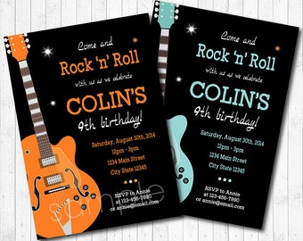 Guitar Invitation Rock N Roll Invite Star Blue Orange Printable