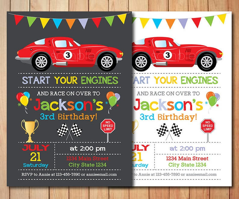 Race Car Birthday Invitation Race Invitation Racing Car Etsy