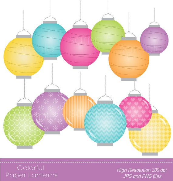digital clipart colorful paper lanterns for scrapbooking etsy