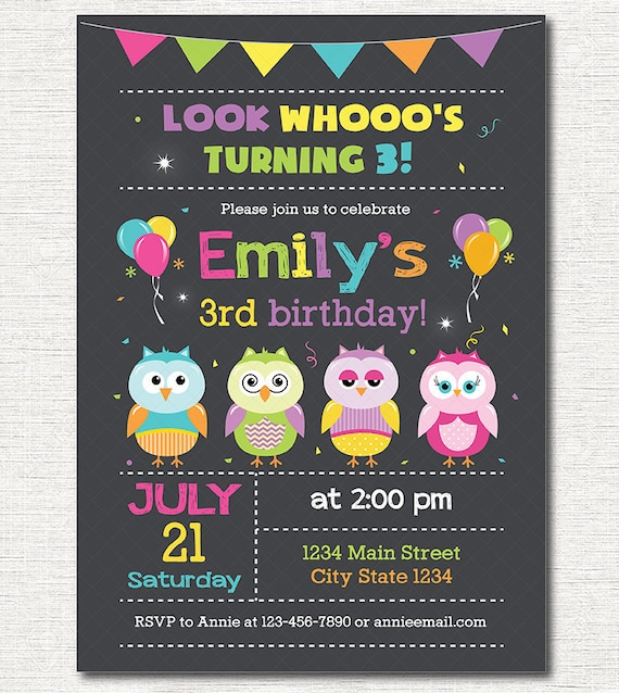 Owls Birthday Invitation Owl Invite Girls