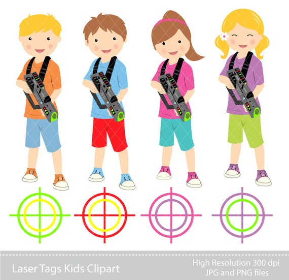 digital clipart laser tag kids clipart instant download etsy rh etsy com laser tag party clip art Billiards Clip Art