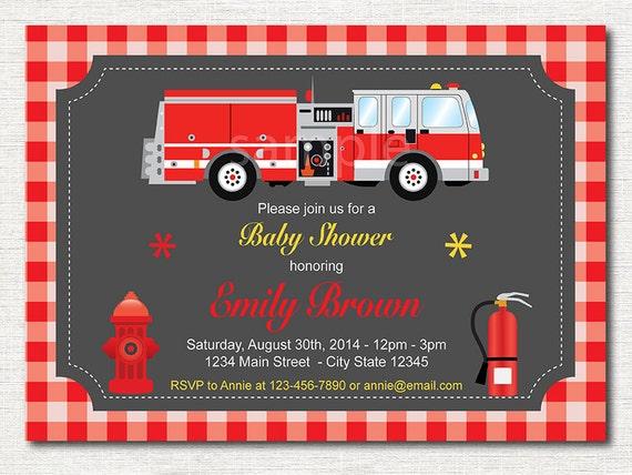 Strażacki Baby Shower Zaproszenia Plaid Zaproszenie Do Druku Etsy