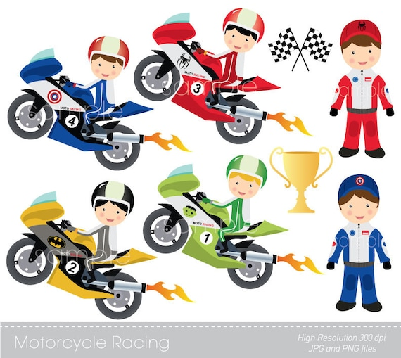 Digital Clipart Motorcycle Racing For Scrapbooking Etsy