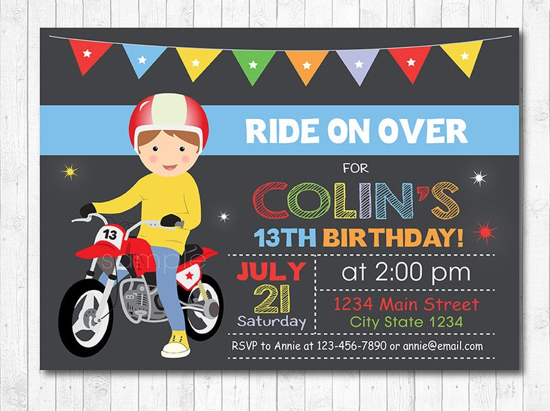 Motocross Birthday Invitation Invite