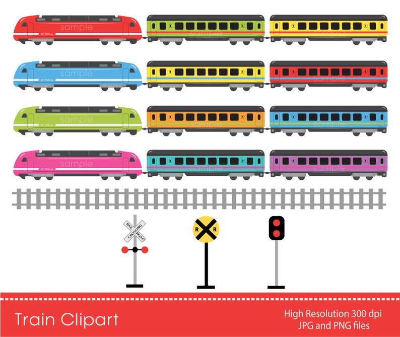 Digital Clipart - Colorful Train for Scrapbooking, Invitations, Paper  crafts, Cards Making, only FOR PERSONAL USE