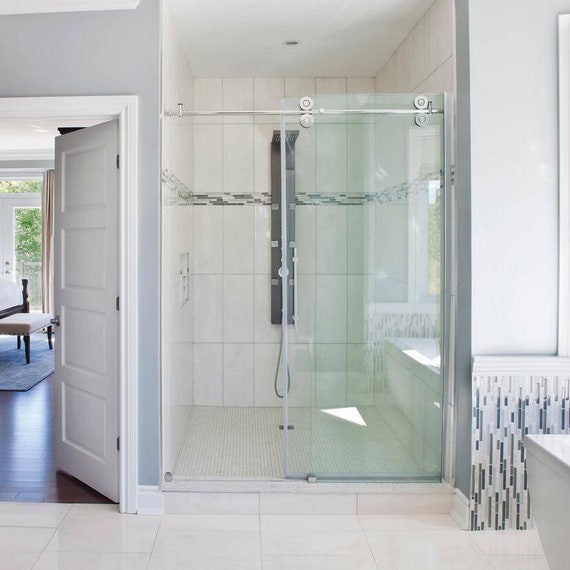 Frameless Sliding Glass Shower Door Track Barn Shower Door Hardware No Glass