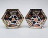 Pair Of Antique Japanese Porcelain Imari Hexagonal Dish