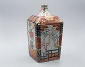 Rare Antique Japanese Porcelain Imari Square Tokkuri Sake Bottle Vase