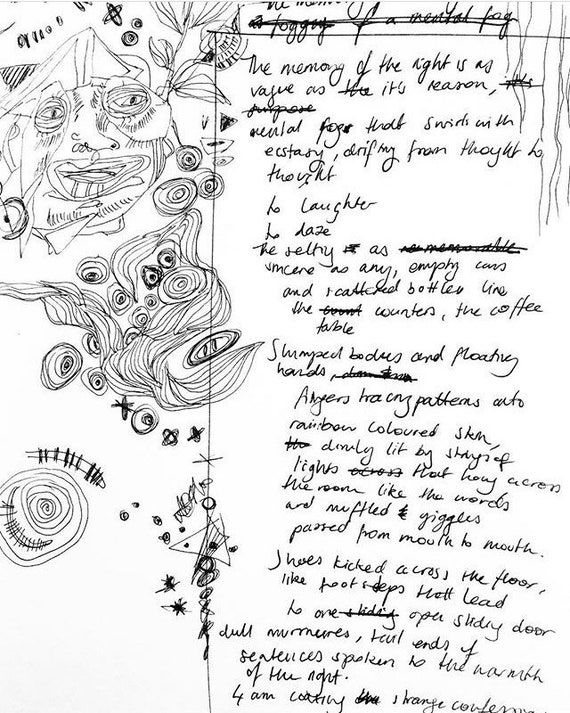 Afterparty Poem Print Original Piece Of Poetry With Sketches And Doodles In Black And White Written Word Art Scribbles Messy