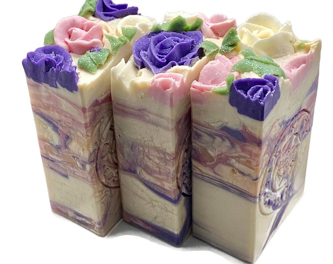 Spring Fling Vegan Handmade Bar Soap with piped roses gift for her ready to ship