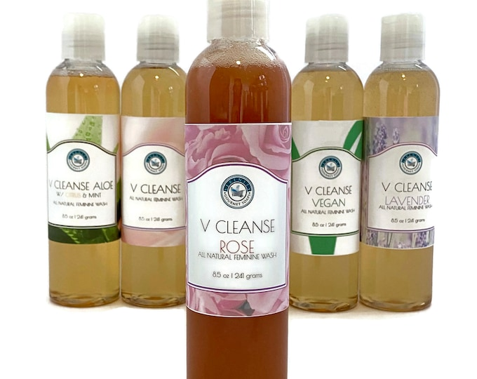 V Cleanse Rose all natural feminine liquid soap and body wash with rose clay and lavender essential oil