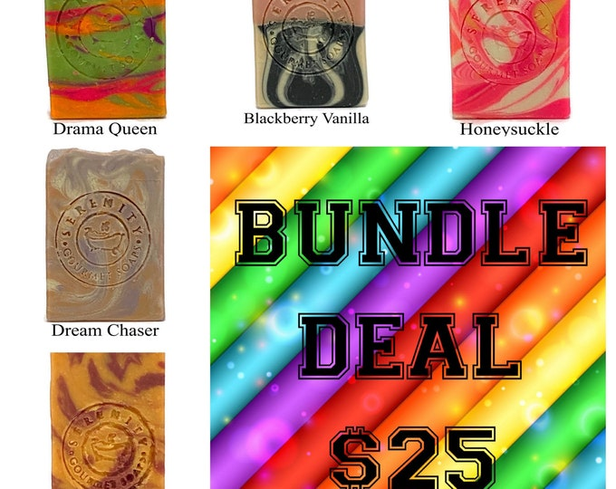 5 Bar Soap Bundle Deal  Vegan Soap Ready To Ship Gift for her Gift for him