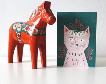 Dala Cat Christmas Card