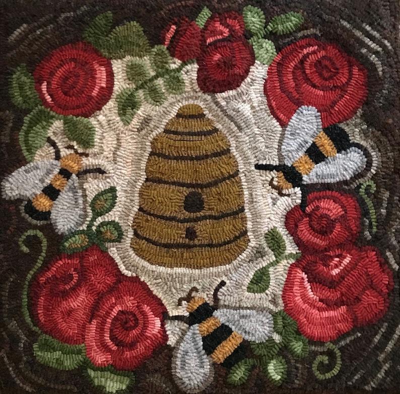 Bee  Beehive Telling the Bees  Rug Hooking Floral  image 0
