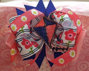 Pink Flowers and Kites Hair Bow