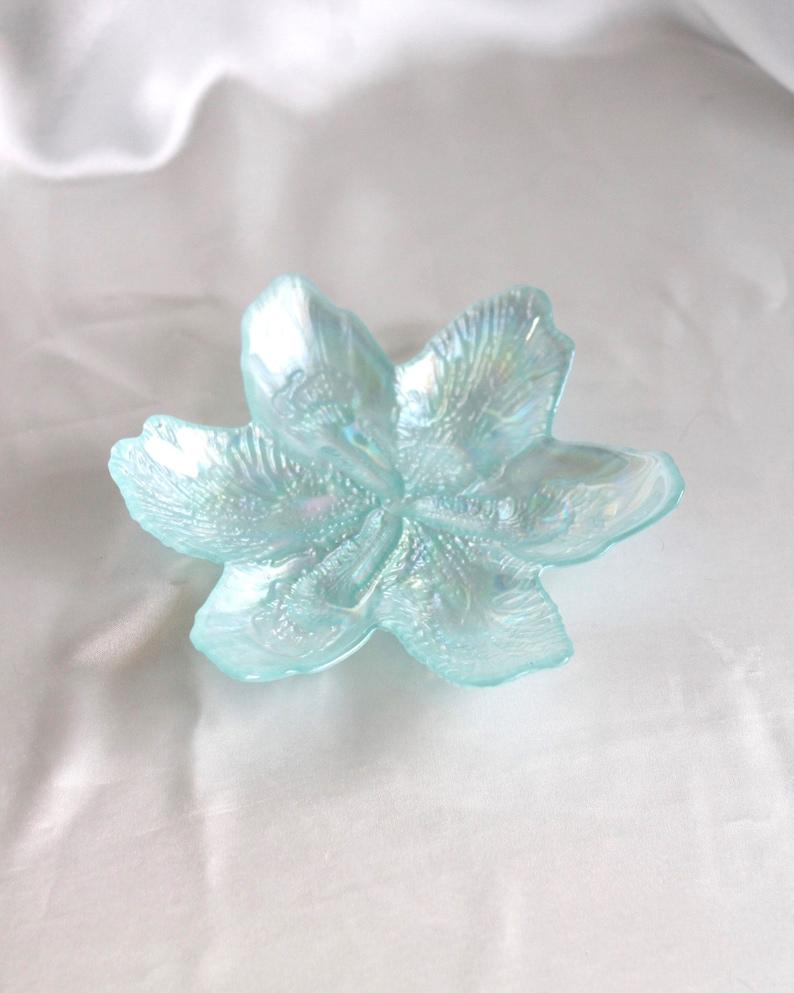 Catch-All Iridescent Glass Flower JewelryTrinket Dish in Blue