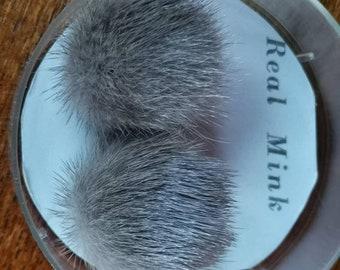 Wonderful vintage Real mink fur clip on earrings Hazelnut brown fur Button earrings in original box.