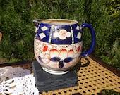 1930s GAUDY WELSH JUG, Imari Patterned Jug, 1 Pint - Blue, gold and orange glaze - Afternoon tea - Art deco jug - Imari vase - Vgc