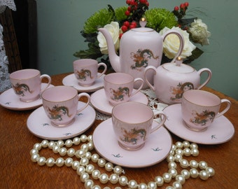 DRAGON TEA Set 1960's, Koran - Demitasse coffee set - Tea pot, Tea cups, Sugar pot - Chinese tea set - Afternoon tea - for dragon lover