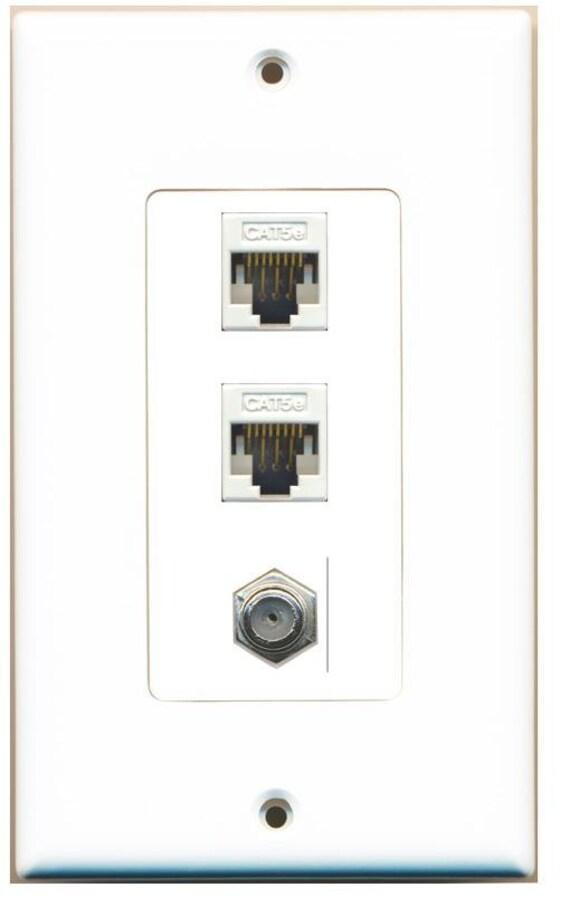 RiteAV Decorative 1 Gang Wall Plate 2 x Cat6 3 Port White//White 1 x Coax