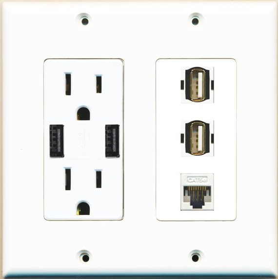 RiteAV Power Outlet 2 HDMI White 2 Coax Wall Plate White