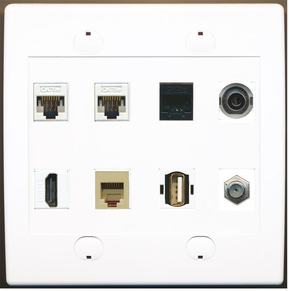 RiteAV 3 HDMI 3 Cat6 5 x RCA Component RGB Stereo Coax Cable TV Wall Plate White