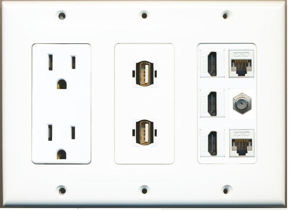 RiteAV 3 Gang 15A GFCI Outlet Mesh-Brush Coax Cat5e White Wall Plate White