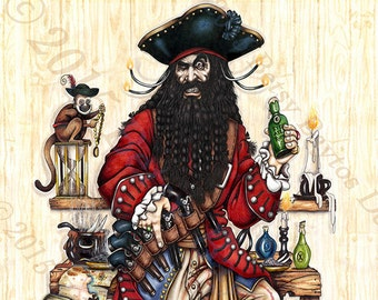 Blackbeard Pirate Art Canvas Print. Original, illustrated 11 x 14 historical pirate poster, wall décor for home, beachhouse or boat.