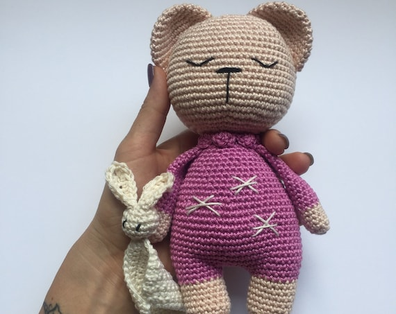 Crocheted  Handmade Sleepy Teddy Toy