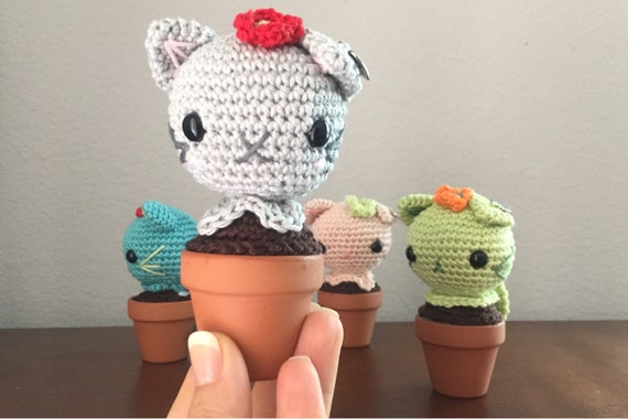 Crocheted  Handmade Cat Cactus