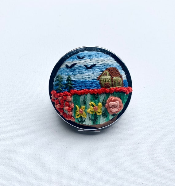 Handmade Embroidery compact mirror