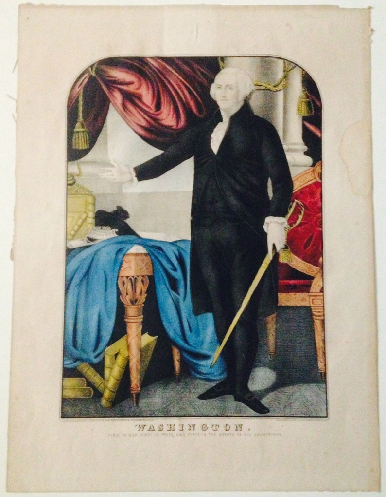 bae9607795aa0 George Washington First in War First in Peace Hand Painted Original  Lithograph Americana Kelloggs & Comstock 1848-50