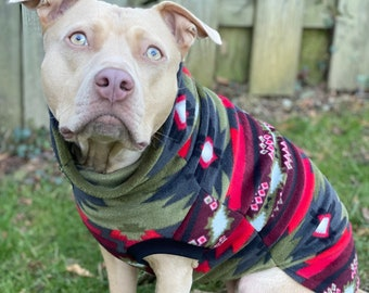 Green Aztec Dog Sweater   Winter Dog Sweater   Fleece Dog Coat   Pullover Dog Sweater   Jax & Molly's