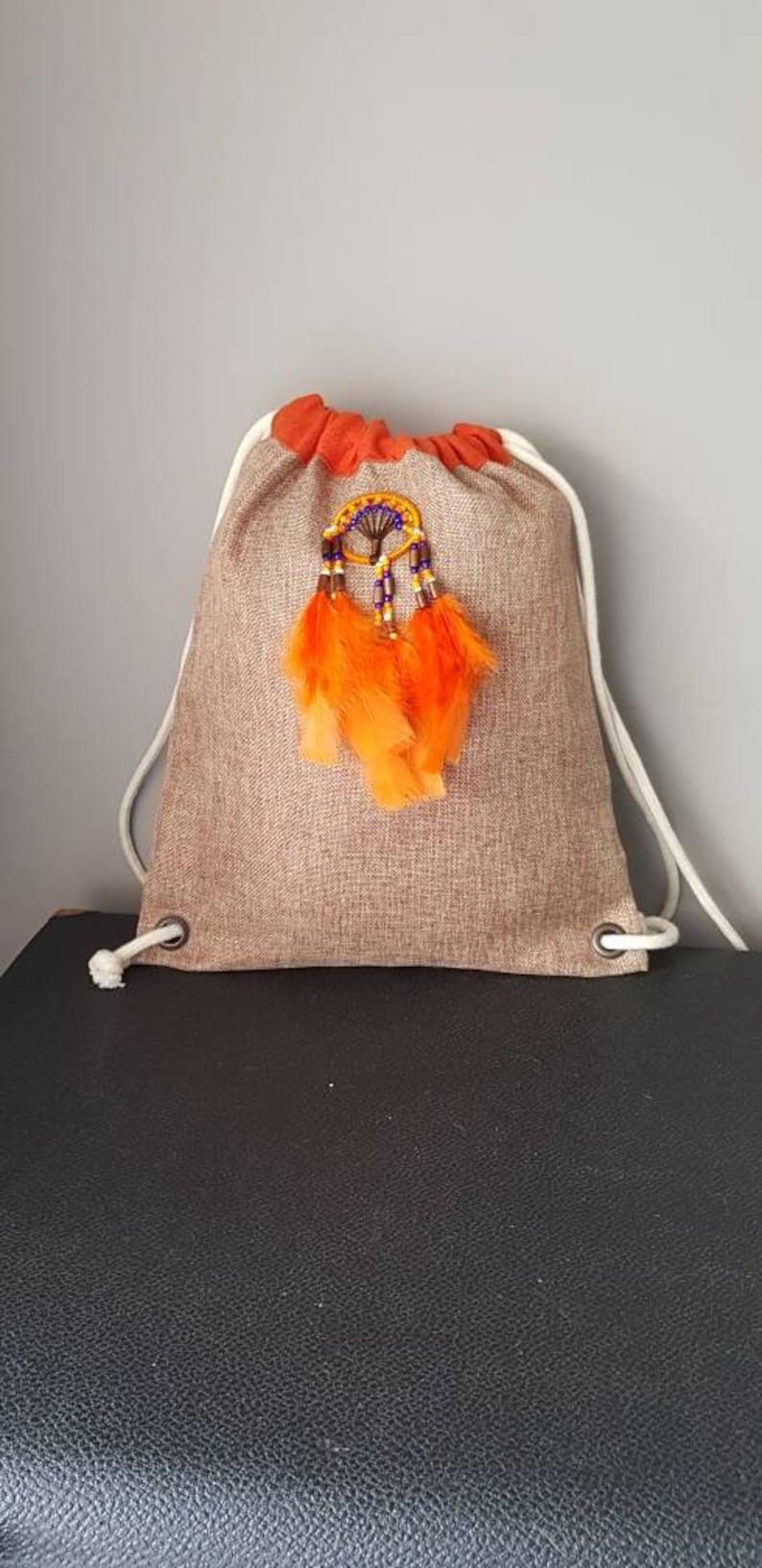 Backpack orange linen tot bag beach bag