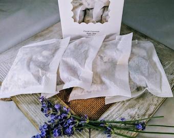 Floral Coconut Milk Bath - 4 bath tea bags - herbal bath milk - dry skin relief - herbal coconut milk - bath tea - herbal bath tea