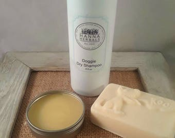 Dog Grooming Trio - All natural shampoo bar - dry shampoo - puppy paw balm - Hanna Herbals - all natural pet care