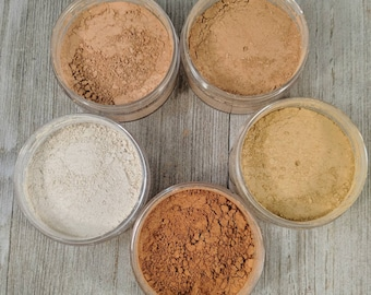 Mineral Makeup Sample Sizes - Mineral Foundation - cosmetics - free shipping makeup - vegan foundation  - cruelty free - foundation sample