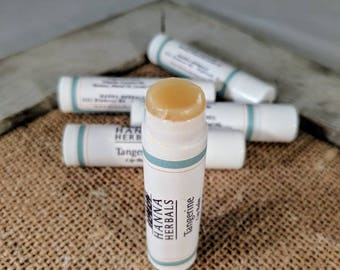 Moisturizing organic lip balm, Peppermint or Tangerine - set of five - calendula lip balm - herbal lip balm - dry skin - Christmas