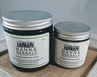 Peppermint Foot Scrub and Peppermint Foot Cream - pedicure scrub - exfoliating scrub - dry skin relief - refreshing cream - pain relief