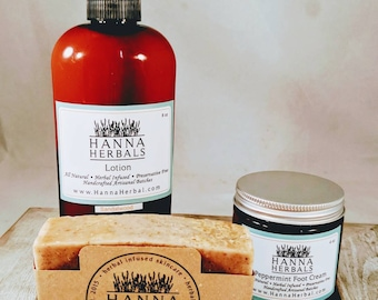 Cinnamon Oatmeal Delux Spa Set - Cinnamon Oatmeal Soap - Lavender Lotion Bar - Peppermint Foot Cream