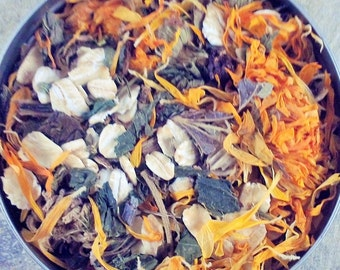 Dry Skin Herbal Bath Blend - dry skin - organic herbal bath - herbal bath blend - organic lavender - organic calendula -