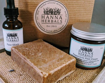 Oatmeal Spa Gift Set - cell renewal - cell repair - vegan soap - blemish control - acne relief - vegan skincare - oatmeal soap