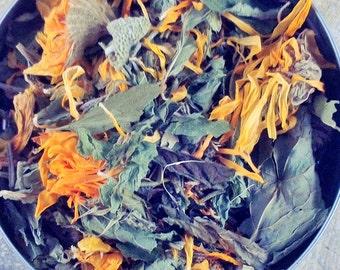 Organic Energizing Herbal Bath Blend - set of 4 - organic herbs - dried peppermint - dried bath blend - dried calendula - organic skin care