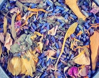 Lavender Relaxing Bath Herb Blend - set of 4 large bags - Lavender Herbal Bath - dried herbs - Rose -  herb blend - calming - sleep aide