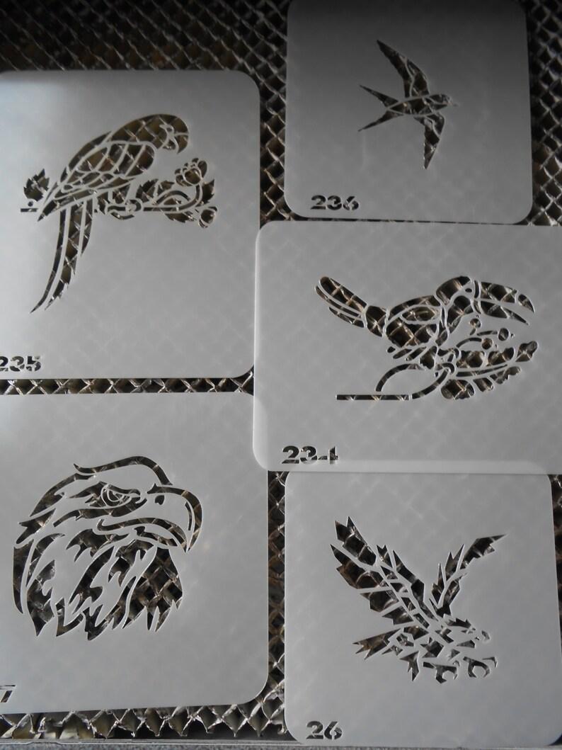 Temporary Airbrush Tattoo Stencil Parrots-Eagles Set 4!