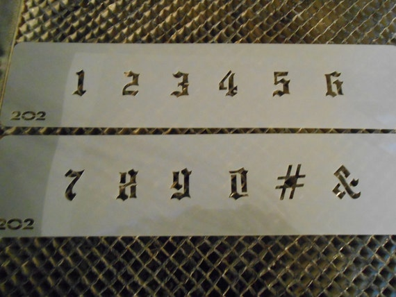 craft. Lasercut Hazy Mylar Old English Font Stencil Set for airbrush tattoo