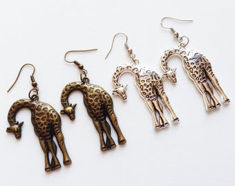 GIRAFFE Earrings Giraffe Jewelry Giraffe Gift Safari Earrings Safari Gift Animal Earrings Wild Animal Earrings African Animal Earrings Gift