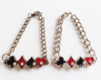 POKER Bracelet Poker Suit Bracelet Poker Jewelry Gambling Bracelet Casino Bracelet Las Vegas Bracelet Poker Gift Casino Gift Las Vegas Gift