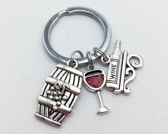WINE Keychain Wine Gift Alcohol Keychain Alcohol Gift Grape Keychain Grape Gift Sommelier Keychain Sommelier Gift Wine Lovers Gift Wine Cup